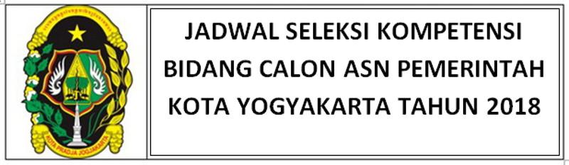JADWAL SELEKSI KOMPETENSI BIDANG (SKB) CPNS PEMKOT YOGYAKARTA 2018